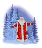 Santa Claus pintada en un fondo de un bosque del invierno Fotos de archivo