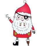 Santa Claus pirate. Cute Christmas character illustration Royalty Free Stock Photos