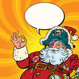 Santa Claus pirate OK gesture. Pop art retro vector illustration. New year and Christmas Royalty Free Stock Photo