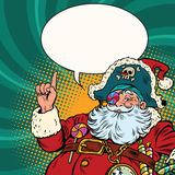 Santa Claus pirate pointing gesture. S. Pop art retro vector illustration. New year and Christmas Stock Photos