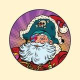 Santa Claus pirate. Pop art retro vector illustration. Candy eye patch Royalty Free Stock Photos