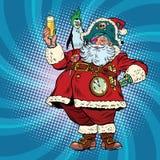 Santa Claus pirate wishes merry Christmas Stock Photo