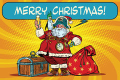 Santa Claus pirate wishes merry Christmas Stock Image