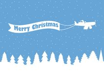 Santa Claus on a plane with a ribbon. Winter background with falling snow. White contour of Christmas trees. Vector Royalty Free Stock Images