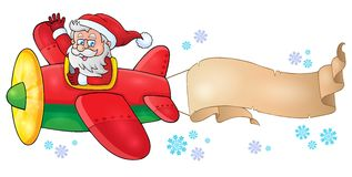 Santa Claus in plane theme image 6 Royalty Free Stock Photos