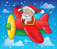 Santa Claus in plane theme image 3 Royalty Free Stock Photo