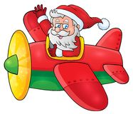 Santa Claus in plane theme image 1 Royalty Free Stock Photo