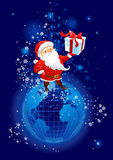 Santa Claus on the planet Earth Stock Image