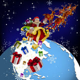 Santa Claus on planet earth Stock Photo
