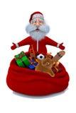 Santa Claus plattforer nära en säck med gåvor Arkivbilder
