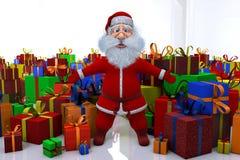 Santa Claus plattforer runt stort nummer av gåvor Arkivbild