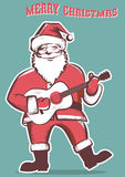 Santa Claus playing guitar isolated illustration Stock Images