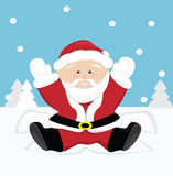 Santa Claus playing on snow Stock Photo