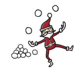 Santa claus playing snowballs Royalty Free Stock Photography