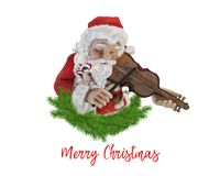 Santa Claus playing the violin with two loving birds. On white background Royalty Free Stock Photo