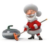 Santa Claus plays curling Royalty Free Stock Photos