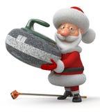 Santa Claus plays curling Royalty Free Stock Image