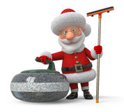 Santa Claus plays curling Royalty Free Stock Photography