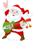 Santa Claus Plays Guitar Royalty-vrije Stock Afbeeldingen