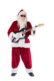 Santa Claus plays guitar with sunglasses Royalty Free Stock Image