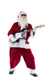 Santa Claus plays guitar with sunglasses Royalty Free Stock Photography