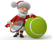 Santa Claus Plays Tennis Royalty Free Stock Images