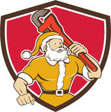 Santa Claus Plumber Monkey Wrench Shield-Karikatur Stockbild