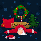 Santa Claus pobre en una trampa stock de ilustración
