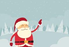 Santa Claus Point Finger Copy Space vintersnö Arkivbild