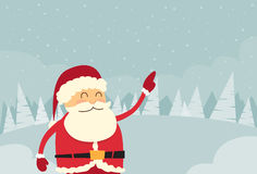 Santa Claus Point Finger Copy Space Winter Snow. Forest Christmas Holiday Sale Flat Vector Illustration Stock Photography