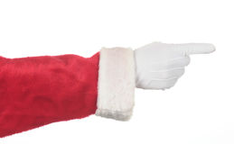 Santa Claus Pointing. His fingers isolated over white. Hand and arm only in horizontal format. Image can be rotated in any direction to fit your design Royalty Free Stock Photography