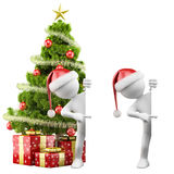 Santa Claus pointing a blank board. Rendered on a white background with diffuse shadows Stock Images
