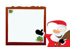 Santa Claus Pointing On Blank Board Stock Photography