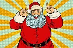 Santa Claus pointing finger up. Christmas and New year. Pop art retro vector illustration Royalty Free Stock Photos