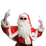 Santa Claus pointing with his index fingers up stock images