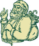Santa Claus Pointing Side Etching Royalty Free Stock Photos