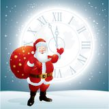 Santa Claus pointing to a clock face on the moon. Santa Claus with a big bag of gifts on the background of night sky and the moon. File saved as AI EPS 10 and Royalty Free Stock Photography