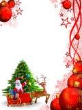 Santa claus pointing towards christmas tree Stock Image
