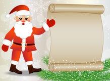 Santa Claus pokazuje na prześcieradle papier, bożego narodzenia tło Zdjęcia Royalty Free