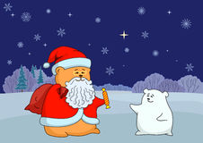 Santa Claus and polar bear Royalty Free Stock Images