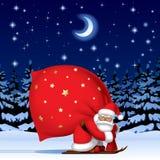 Santa Claus por el esquí con un saco grande rojo ilustración del vector