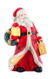 Santa Claus porcelain figurine. On white background Royalty Free Stock Photos