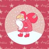 Santa Claus porta la sua borsa, illustrazione di vettore Fotografia Stock