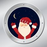 Santa Claus in porthole in vector Royalty Free Stock Photo