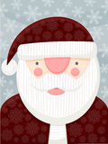 Santa Claus Portrait. An illustrated portrait of Santa Claus. Rich, retro colors, blue sky background with snowflakes, and snowflake pattern in St. Nick's red Stock Photos