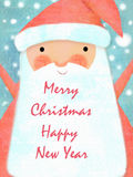 Santa Claus portrait. Christmas card poster banner. Illustration of a happy Santa Claus with big beard, and copy space. Stock Image