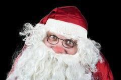 Santa Claus Portrait en la noche de la Navidad en vagos negros Imágenes de archivo libres de regalías