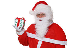 Santa Claus portrait holding Christmas gift isolated Royalty Free Stock Image