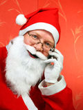 Santa Claus Portrait. On the Red Background royalty free stock images