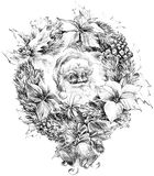 Santa Claus portrait sketch, Christmas wreath,. Sketch of Santa Claus background Stock Photography